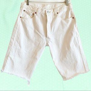 Vintage Levi's 501 white cut off long jean shorts